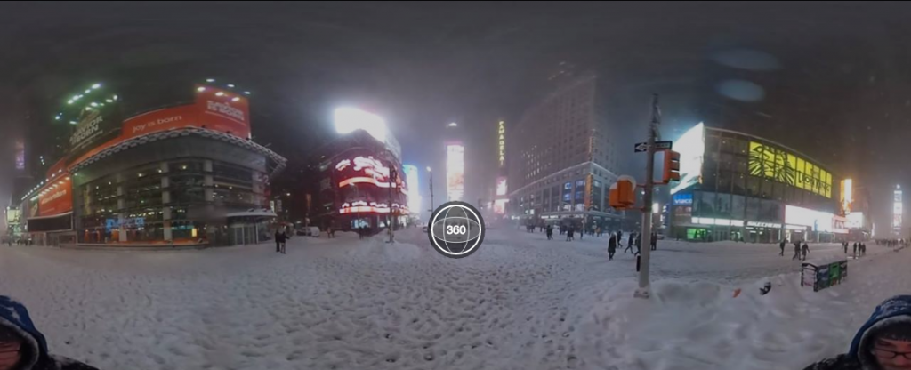 360-degree photo of Times Square in a blizzard