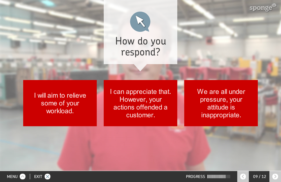 A screen shot from the Royal Mail leadership development training module