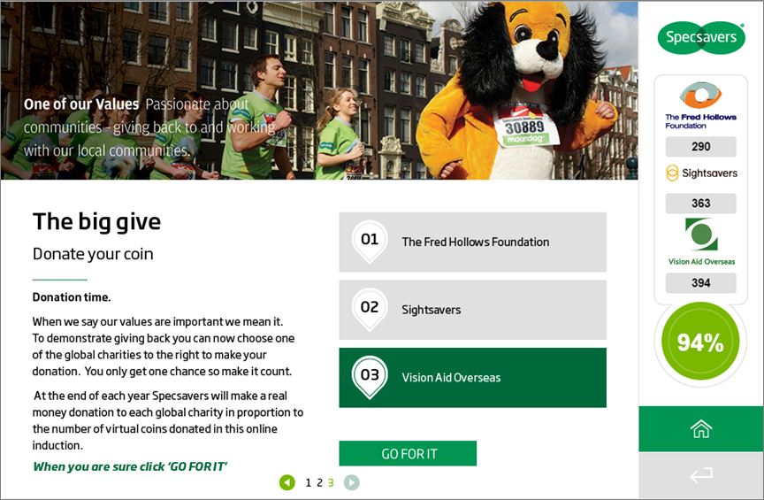Specsavers had a donation system as part of their induction to promote their corporate culture
